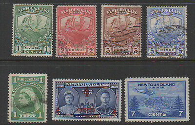 Newfoundland, KG5 & KG5 selection of 7 mounted mint & used.