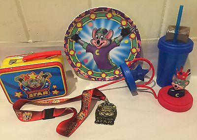 Chuck E Cheese Birthday Star Medal Pendant Necklace,Tin Case, Cup, Plate & Cape