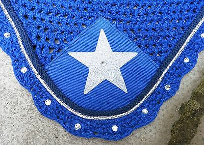 Fly Veil Ear Net Mask Bonnet * Diamante * Royal Blue Silver & Navy Star  Full