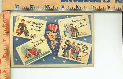 WW11 ? UNUSED  Humoris Postcard Army Liberty see scans front and back