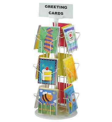 "Planet Racks 12-Pocket 5"" x 7"" Greeting Card Counter Display - White"