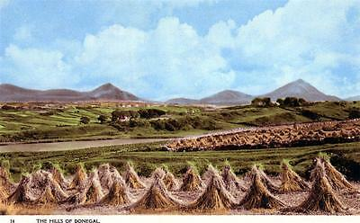 THE HILLS OF DONEGAL Harvest Time Ireland old Barton Postcard unused