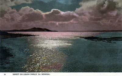 LOUGH SWILLY SUNSET Co. Donegal Ireland old Barton Postcard unused