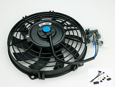 "Electric Radiator Cooling Fan 10"" Push/Pull Universal Curve 5481A With Fittings"