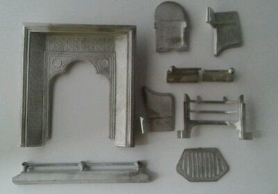 PEWTER  'Coalbrookdale' Style Fireplace & Fender kit DOLLS HOUSE FIRE PLACE