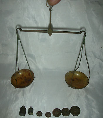 19th C Antique Equal Arm Balance Apothecary / Coin / gold Scale 7 bronze Weights