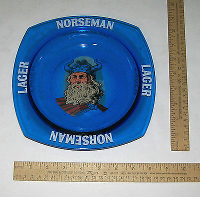 NORSEMAN LAGER Blue Glass ASHTRAY or BOWL - VIKING in Center - NORSEMAN LAGER