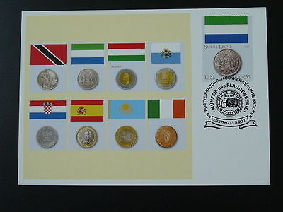 coin and flag Sierra Leone numismatic currency maximum card United Nations 61246