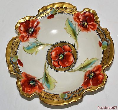 Antique Hand Painted Rosenthal Pickard Studio Poppy Motif Bowl 5.25""