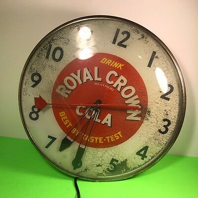Royal Crown Cola Light Up Clock Vintage Soda Advertising Bubble Glass Best Taste