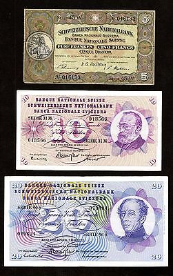 Switzerland 3 Different Old Swiss Franc Banknotes 1949 - 1973