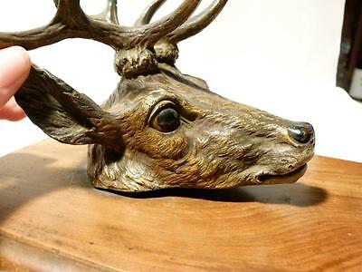 Antique Austrian Cold Painted Bronze Deer STAGS Head Wall Paper Clip #565T