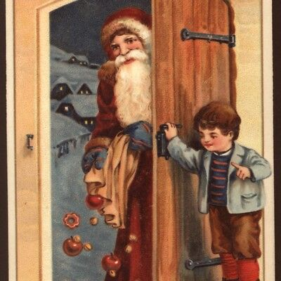 Surprised Father Christmas,santa Spills Apples & Nuts,rusty Brown Robe Postcard