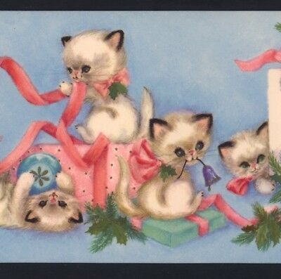 Mint.lively Kittens,cats Play Among Christmas Presents,collectible Greeting Card