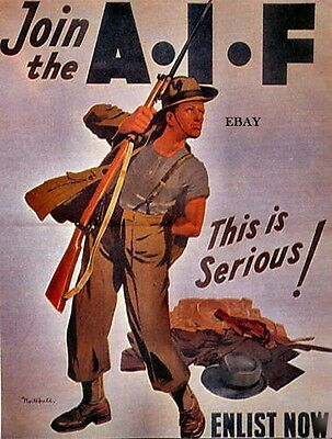 Ww2 Recruiting Poster Australian Imperial Forces Anzacs New A4 Print