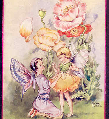 Scarce Cloke.....fairy Fits Daughter With Flower Party Dress,poppies,postcard