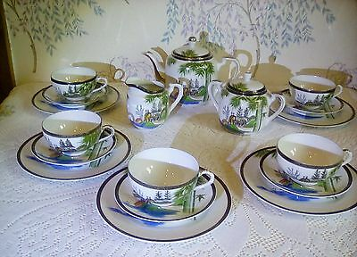 18pc vintage japanese tea set Hayasi kutani fine china Stunning see pics