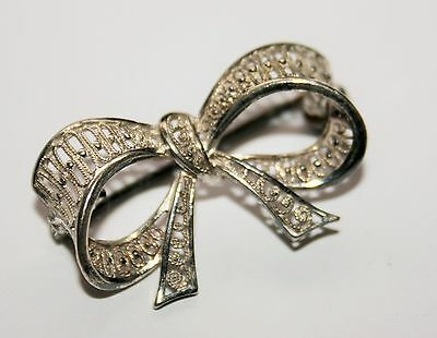 Vintage Sterling Silver Filigree Bow Brooch - Small Size