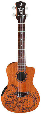 Luna Uke Tribal Tattoo Laser Etch Concert Acoustic/Electric Mahogany Ukulele