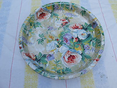 Vintage Shabby Chic Round Metal Serving Tray - Great Roses Design
