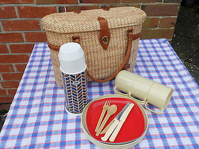 Vintage Super Woven And Leather Strap Picnic Basket With Flask, Plates, Cups Etc