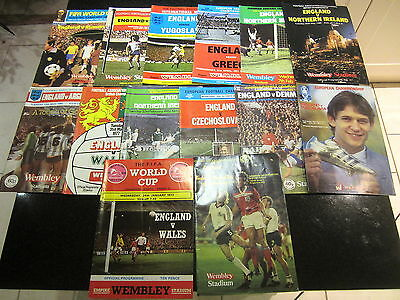 JOB LOT OF 14 ENGLAND F.A. PROGRAMMES 1970s 1980s WEMBLEY WORLD CUP