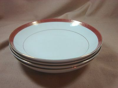 Crown Empire Fine China Empress Gold Filigree Dark Red Band 4 Coupe Soup Bowls
