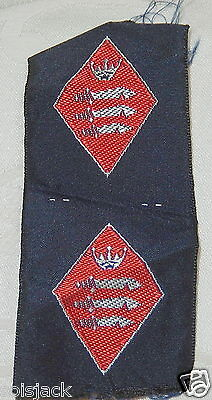 Fine Girl Guides County Silk Badge Patch Pair - Middlesex - Mint
