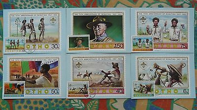 boy scout scouting set of 6 maximum cards Lesotho 1982