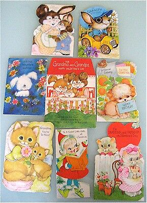 8 Used Vintage Juvenile Various Occasion Greeting Cards, Scrapbooking, Crafts