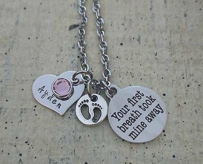 Mother's Newborn infant Baby Birthstone Gift Keepsake Necklace Personalized Mom