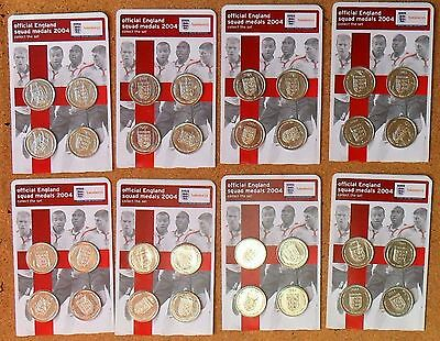 8 Unopened Packs Of Official England 2004 Football Squad Medals 32 Coins