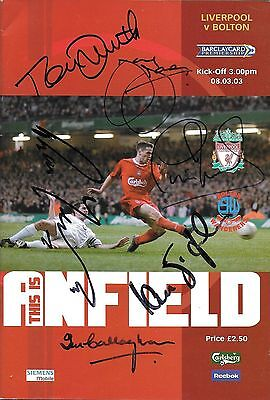 LIVERPOOL v BOLTON 2003 PROGRAMME SIGNED BY ST JOHN,YEATS,SMITH JONES,CALLAGHAN