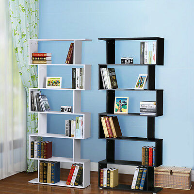 S Shape Storage Display Unit Wood Bookcase Bookshelf Shelves Home DIY Furniture
