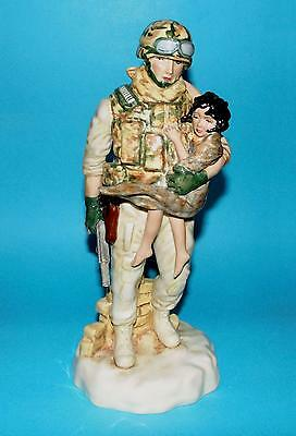 Peggy Davies ornament figurine ' In the arms of a Hero ' army 1st  LTD ED BOXED