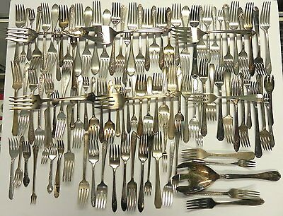 Mixed Lot of 100 Silverplate Forks, Crafts, Wind Chimes, Jewelry, and Other Uses