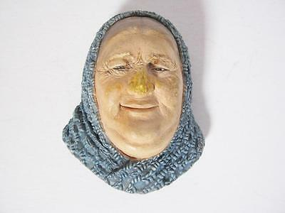 Vintage Bossons Chalkware Old Woman Head Wall Plaque England