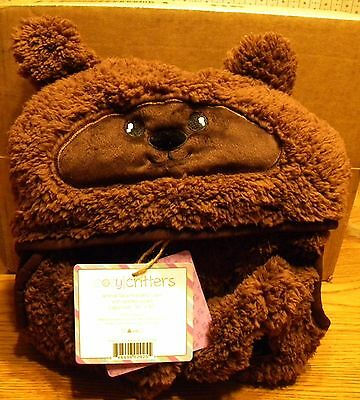 Cozy Critters Hooded Bear Cape With Pocket Paws Nwt