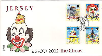 Jersey 2002 Europa Circus Set Of 4 On First Day Cover