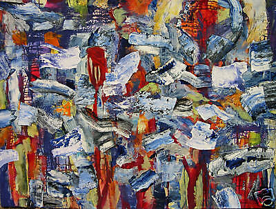 Huge 30 x40 Abstract on Canvas Expressionist Zuelsdorf Mixed Media SALE!
