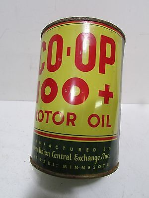Vintage Co Op 100+ 1 quart can Rare Sign gas oil Advertising Farmer's Union
