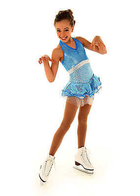 CLEARANCE SKATING DRESS Elite Xpression White Turquoise 1362 AS SMALL