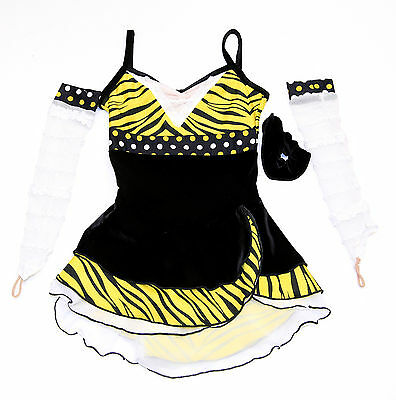New Competition Skating Dress Elite Xpression 1369 Yellow Black   CM 8-10