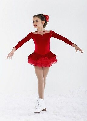 New COMPETITION  SKATING DRESS Elite Xpression 1296 Red Velvet 4-6 CXS
