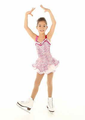 NEW COMPETITION SKATING DRESS Elite Expression White Pink Print 1371 AS Small