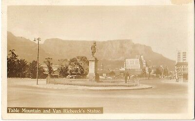 Table Mountain Van Riebeeck's Statue Cape Town South Africa - Real Photo RPPC