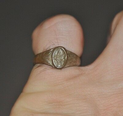 Authentic Ancient Late Roman Empire Legionary Wearable Bronze Seal Ring Sz 7.5