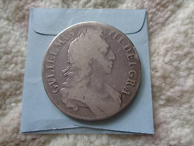 1696 Great Britain 1 Crown large silver coin