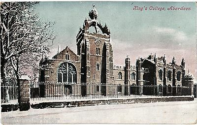 Aberdeen, King's College, old coloured postcard, posted 1910