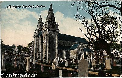 Aberdeen, Old Machar Cathedral, old coloured postcard, unposted